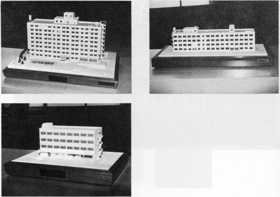 模型(1)蛋白質研究所本館建物 (2)鳥井記念館 (3)旧蛋白質研究所